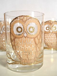 Golden Owl glasses from Georges Briard