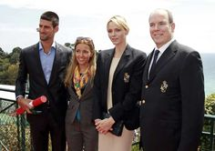 Serbian tennis player Novak Djokovic (L) and his girlfriend Jelena Ristic (2nd L) pose with Prince Albert II of Monaco (R) and his wife Princess Charlene during the Monte Carlo Masters in Monaco April 16, 2012.