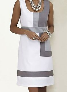 Color Block Sleeveless Above Knee Shift Dress Robes Vestidos - Herren- und Damenmode - Kleidung Shift Dresses, Sleeveless Dresses, Sleeveless Shirt, Spring Dresses, Dresses For Work, Dress Summer, Spring Summer, Simple Dresses, Elegant Dresses