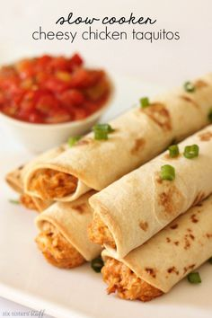 Slow Cooker Cheesy Chicken Taquitos – Six Sisters' Stuff