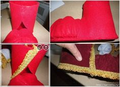 Do it yourself ideas and projects: How to DIY Festive Santa Boots Out of Plastic Bottle Christmas Decorations Australian, Diy Christmas Decorations Easy, Christmas Shoes, Kids Christmas, Christmas Ornaments, Diy Crafts For Home Decor, Xmas Crafts, Plastic Bottle Crafts, Recycle Plastic Bottles