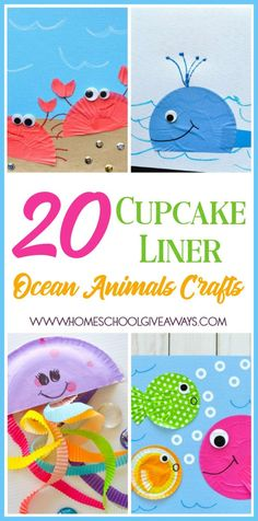 Ocean Animal Art For Kids Cupcake Liners 27 Ideas Arts And Crafts Furniture, Fun Arts And Crafts, Crafts For Kids, Furniture Projects, Easy Crafts, Cupcake Liner Crafts, Cupcake Liners, Collages, Ocean Animal Crafts