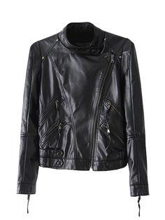 Sale 24% (35.99$) - Casual Slim Black PU Zipper Women Short Jacket