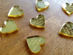 Personalised Gold Mirror Laser Cut Heart Wedding Table Decoration Favours
