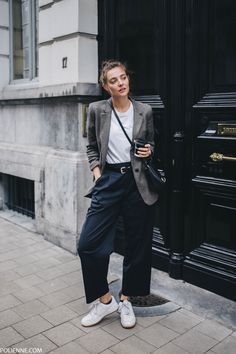 Oversized dress pants and a patterned blazer paired with a white tee   Polienne