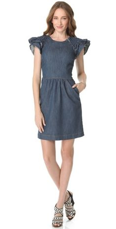Special Offers Available Click Image Above: Red Valentino Flutter Sleeve Denim Dress