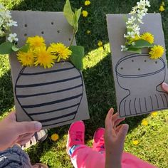 Simple Cardboard Vase Activity Encourages Kids To Explore The Great Outdoors Nature Activities, Toddler Learning Activities, Spring Activities, Craft Activities For Kids, Infant Activities, Preschool Activities, Activities For Babysitting, Outdoor Summer Activities, Forest School Activities