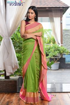 Buy Cotton Online - Pure Cotton Sarees Online - Green Weave with Peach Border Cotton Sarees Online, Peach Colors, Colours, Sari Dress, Traditional Looks, Saree Blouse Designs, Beautiful Saree, Summer Collection, Color Combinations