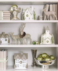 great idea for adding christmas balls in a bowl and decorating your bookshelves - Christmas Shelf Decorations