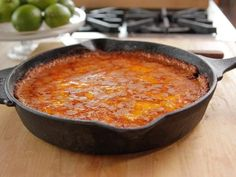 "Cheesy Refried Bean Casserole (For Pete's Sake: A Tex-Mex Dinner) - ""The Pioneer Woman"", Ree Drummond on the Food Network. Mexican Dishes, Mexican Food Recipes, Ethnic Recipes, Bean Casserole, Casserole Recipes, Cowboy Casserole, Refried Beans Casserole Recipe, Skillet Recipes, Best Refried Beans Recipe"