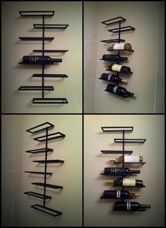 Steel Wall Mount Wine Rack by BirdmanTheWelder on Etsy, $80.25