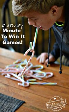 Super Fun Kid Friendly Minute To Win It Games with a Winter and Christmas Theme! Super Fun Kid Friendly Minute To Win It Games with a Winter and Christmas Theme! Easy enough for kids but challenging enough for adults! Perfect for parties at school or just