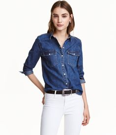 Check this out! Shirt in washed, stretch denim with snap fasteners at front and at cuffs, chest pockets with flap and button, and a rounded hem. - Visit hm.com to see more.
