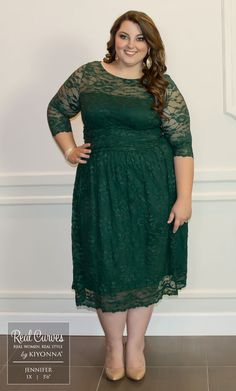 "Real Curve Cutie Jennifer (5'6"") poses it out in our plus size Scalloped Luna…"