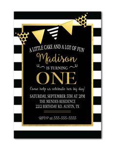 Black & White Stripes Birthday Invitation with black & gold banner Modern girls birthday printable invite by Invites2Adore