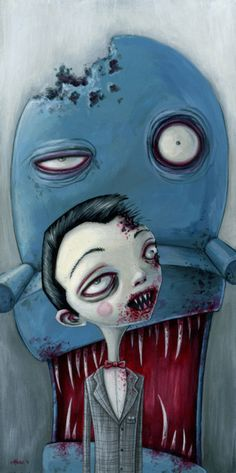 Pee Wee Herman and Chairy as Zombies art.  #zombie