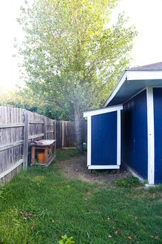 This small wooden shed is big enough to store a lawn mower and some gardening supplies. Well show you how to build one just like it in your backyard. Storage Shed Kits, Building A Storage Shed, Backyard Buildings, Backyard Sheds, Narrow Shed, Home Depot Shed, Shed Design Plans, Build Your Own Shed, Free Shed Plans