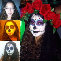 My Dia de Los Muertos look. Makeup, flower crown, and veil all done by yours truly. :D -Carissa Hiquiana