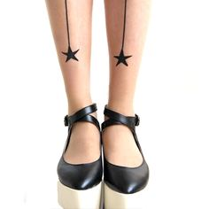 Simple Star and Back Seamed Sheer Nude Pantyhose Tattoo Tights for Women | DOTOLY