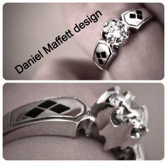 Elegant and perfect Batman, Harley Quinn engagement ring.