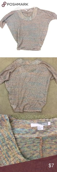 LG. MULTI-COLOR KNIT SCOOP NECK METALLIC THREAD Forever 21 junior's large knot sweater like short sleeve scoop neck top. Can also fit a women's small or medium. Baggy round neck knit multi-color and metallic top. Fits better for a women's medium. Forever 21 Tops Sweatshirts & Hoodies