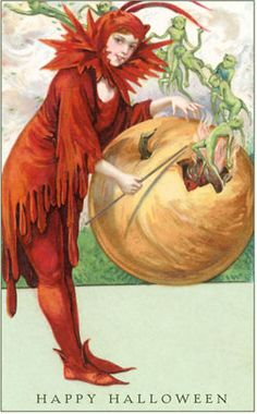 Image result for goblins, sprites and imps victorian halloween postcards