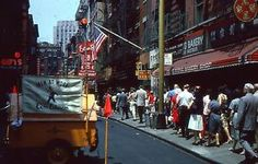 1965 Chinatown in New York in front of Fung Wong Bakery