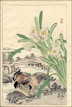 Kono Bairei: Mandarin Duck and Narcissus - Japanese Art Open Database