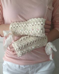 Organic Cotton Fingerless Gloves Cream and by LaceyDaisyKnits