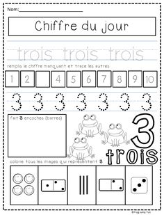 French number of the day pack with 3 pages for each number from 1 to 10