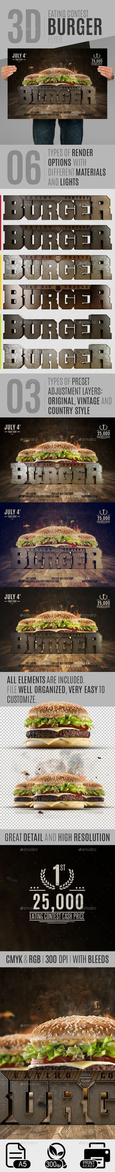 Eating Contest Burger Flyer #template #PSD • Click here to download ! http://graphicriver.net/item/eating-contest-burger-flyer/10931313?ref=pxcr