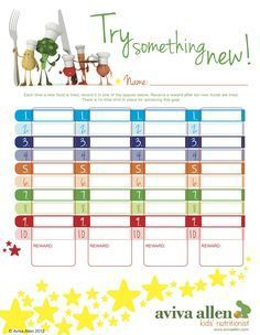 Encourage your kids to try new foods with colourful reward chart.  Download it for FREE at http://www.avivaallen.com/Kids-Nutrition/healthy-eating-charts-for-kids.html.