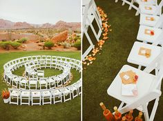 wedding spiral chairs... spread it out a little more and it would be perfect for small ceremony