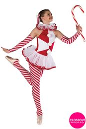 Style# 17486 CANDY CANE Red, white and striped spandex halter unitard. Separate white chiffon collar and tutu. Ribbon and pom trim. Headpiece and mitts included. Christmas Dance Costumes, Dance Recital Costumes, Nutcracker Costumes, Girls Dance Costumes, Ballet Costumes, Dance Outfits, Candy Cane Costume, Candy Costumes, Costume Hats