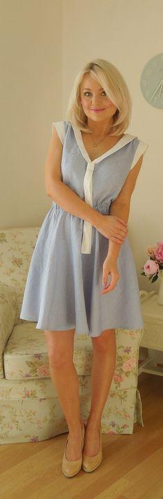 My stripy blue linen day dress Deer and Doe Reglisse pattern