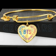 bangle bracelets BTS with Member's Name (Colorful with Black Text) - Heart Adjustable Bangle Bracelet BTS with Member& Name (Colorful with Black Text) - Heart Adjustable Bangle Bracelet Bts Bracelet, Bangle Bracelets, Bangles, Ladies Bracelet, Bracelet Charms, Heart Bracelet, Sea Glass Jewelry, Heart Jewelry, Colar Do Bts
