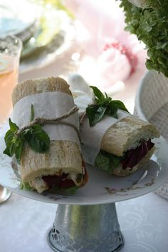 tied or wrapped sandwiches