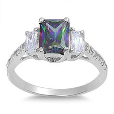 925 Sterling Silver CZ Three Stones Rectangular Simulated Mystic Topaz Ring 9MM