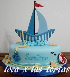 Tortas Decoradas Artesanales, Mesas Dulces !!!! Sailboat Cake, Nautical Cake, Pretty Cakes, Beautiful Cakes, Baby Shower Cakes, Baby Shower Themes, Torta Angel, Baking With Kids, Fancy Cakes