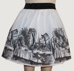 Alice original ilustración plena falda por GoFollowRabbits en Etsy