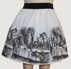 Original Alice Illustration Full Skirt by GoFollowRabbits on Etsy,