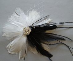 White and Black Steampunk Feather Flower Bridal Hair by WeeGardens, $41.00