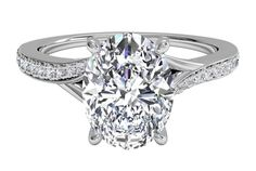 Oval Cut Diamond Modern Bypass Micropavé Diamond Band Engagement Ring in White Gold, by Ritani