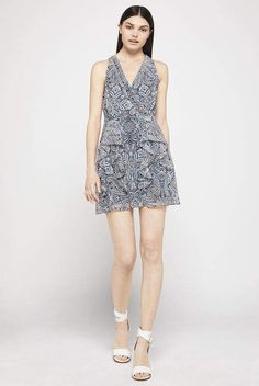 BCBGeneration Paisley Fit-And-Flare Halter Dress
