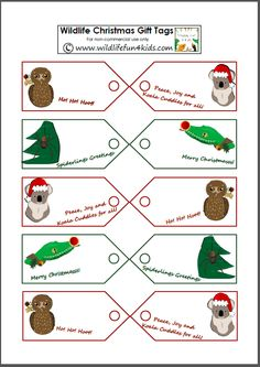 Wildlife Animals Christmas Gift Tags