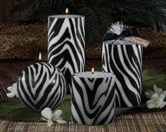 zebra candles.... i love everything zebra ...