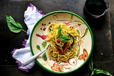 Corn Spaghetti with Pesto and Roasted Vegetables