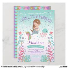 1st Birthday Invitations Girl, Mermaid Invitations, First Birthday Gifts, 1st Birthday Girls, Birthday Fun, Custom Invitations, First Birthdays, Under The Sea Party, Kids Party Supplies