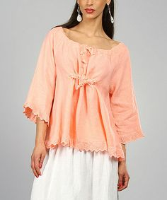 Apricot Marie Linen Peasant Top  by Lin Blanc on Zulily
