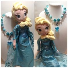 Disney Princess Elsa inspired turquoise chunky bubble gum bead necklace with diamond pendant and snowflake on Etsy, $20.00